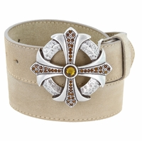 Smoked Topaz Rhinestone Cross Celtic Buckle Suede Leather Belt - Tan