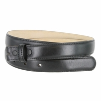 """Smooth Dress Belt Strap Genuine Leather With Snaps 1"""" wide - Black"""