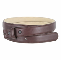 """Smooth Dress Belt Strap Genuine Leather With Snaps 1"""" wide - Burgundy"""