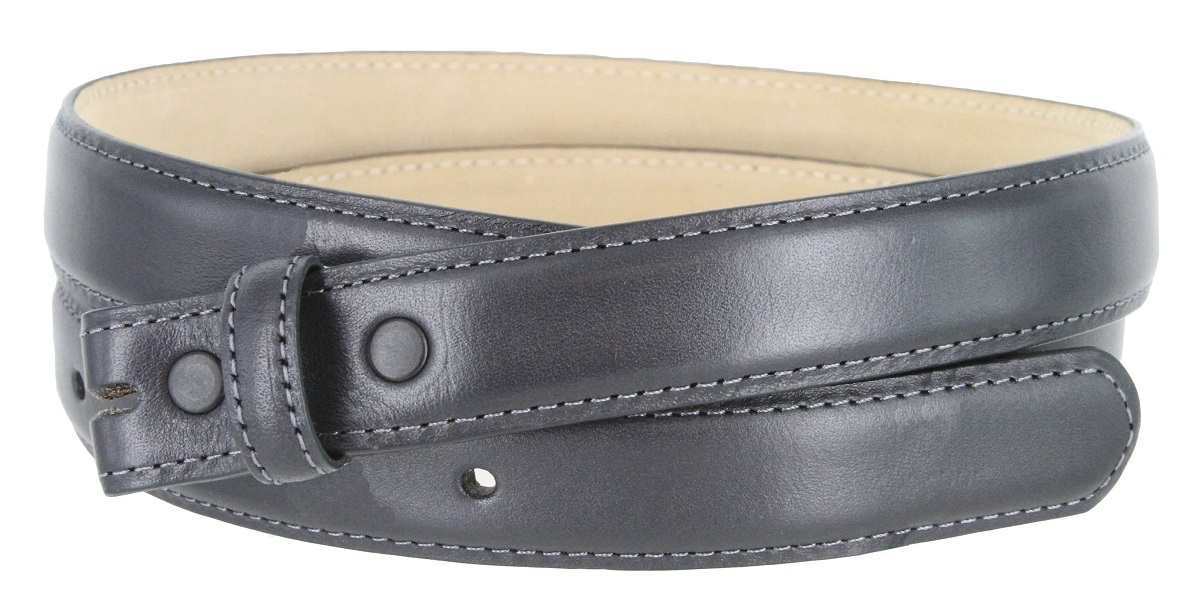 Smooth Dress Belt Strap Genuine Leather With Snaps 1
