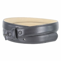 """Smooth Dress Belt Strap Genuine Leather With Snaps 1"""" wide - Charcoal"""