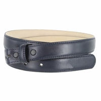 """Smooth Dress Belt Strap Genuine Leather With Snaps 1"""" wide - Navy"""