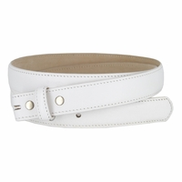 """Smooth Dress Belt Strap Genuine Leather With Snaps 1"""" wide - White"""