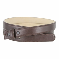 """Smooth Dress Belt Strap With Snaps Genuine Leather 1"""" wide - Brown"""