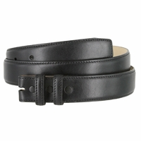 """Smooth Genuine Leather Belt Strap 1 1/4"""" wide (32mm) with Two Loop - Black"""