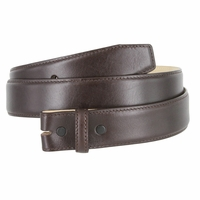 """Smooth Genuine Leather Belt Strap 1 3/8"""" wide (35mm) with Single Loop - Brown"""
