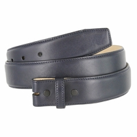 """Smooth Genuine Leather Belt Strap 1 3/8"""" wide (35mm) with Single Loop - Navy"""