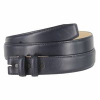 """Smooth Genuine Leather Belt Strap 1 1/4"""" wide (32mm) with Two Loop - Navy"""