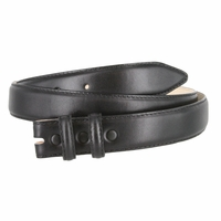 """Smooth Genuine Leather Dress Belt Strap 1 1/8"""" wide (30mm) with Two Loop - Black"""