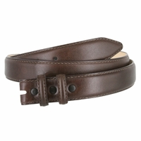 """Smooth Genuine Leather Dress Belt Strap 1 1/8"""" wide (30mm) with Two Loop - Brown"""