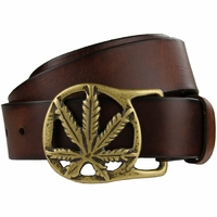 "Solid Brass Kush Buckle Full Grain Leather Belt 1-1/2"" wide"