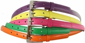 "7055 Solid Colors Skinny Women's Dress Belts  3/4""(19mm) Wide *Multi-Color Pack*"