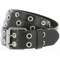 Solid Rich Fashion Color Double Prong Genuine Leather Casual Jean Belt Black