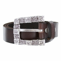 Squares Belt Buckle Casual Jean Leather Belt