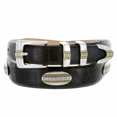 St Andrews Gold Men's Leather Designer Dress and Golf Belt