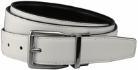 "Stafford Reversible White/Black Leather Dress Belt (1-1/8"" or 30mm)"