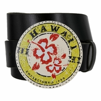 State of Hawaii Art Round Graphic Print Buckle with Genuine Leather Belt