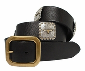 Steer Longhorn Berry Conchos Men's Full Grain Leather Western Biker Belt