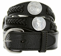 Stone Mountain Western Embossed Leather Belt - Black 2292-9237