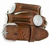 Stone Mountain Western Embossed Leather Belt - Brown