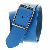 "Striker's Full Grain Italian Saddle Leather Casual Jean Belt 1-1/2"" Wide - Sky Blue"