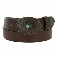 Susannah Copper Patina Buckle with Turquoise Inset Womens Western Belt