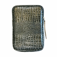 Tablet eBook iPad Mini, Kindle, Nook, Nexus 7 Cowhide Leather Case - Croco Print Antique Silver