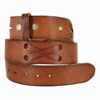 """TB 105 Brown Genuine Hand-Laced Leather Belt Strap 1-3/4"""""""