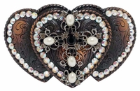 Three Hearts Cross Belt Buckle With Swarovski Rhinestone