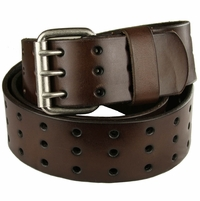 "Three Hole Genuine Leather Casual Jean Belt-Brown 1-3/4"" wide"