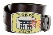 Tokyo Japan Belt Buckle Casual Jean Leather Belt