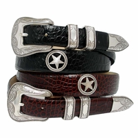 Tombstone Men's Star Conchos Western Leather Belt