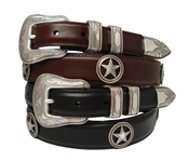 Tombstone Men's Star Conchos Western Oil Tanned Leather Belt