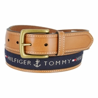 """Tommy Hilfiger Men's Ribbon Inlay Leather Casual Belt 1-3/8"""" Wide - Navy"""