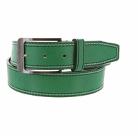Triple Stitched Genuine Leather Golf Belt Green