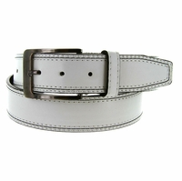 Triple Stitched Genuine Leather Golf Belt White