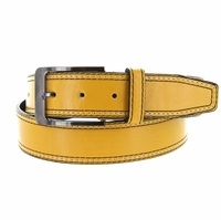 Triple Stitched Genuine Leather Golf Belt Yellow