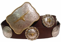 Trophy Buckle Concho Leather Western Belt (Click here to see  more Styles)