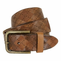 Tulliani Argyle Perforated Belt - Tan