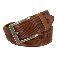 "Tulliani Aringa Herringbone Tooled Leather Belt 1-1/4"" Wide - Brown"