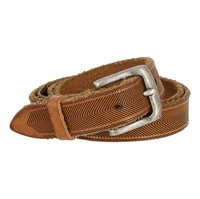 "Tulliani Aringa Herringbone Tooled Leather Belt 1-1/8"" Wide - Tan"