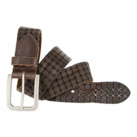Tulliani Cross Perforated Tooled Belt - Brown