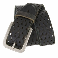 Tulliani Diamond Tooled and Perforated Belt - Black