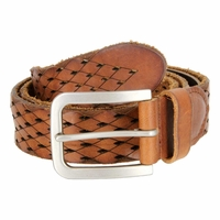 Tulliani Diamond Tooled and Perforated Belt - Tan