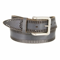Tulliani Doppio Edge Tooled Squares Leather Belt - Black