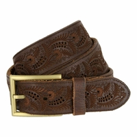 Tulliani Fern Tooled Belt - Brown