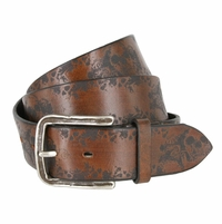 Tulliani Flamed Skull Belt - Brown