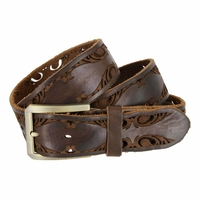 Tulliani Floral Edge Tooled Belt - Brown