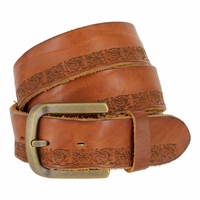 Tulliani Floral Tooled Stripe Belt - Tan