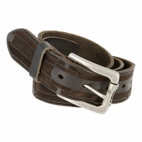 Tulliani Lamella Geometric Tooled Leather Belt - Brown